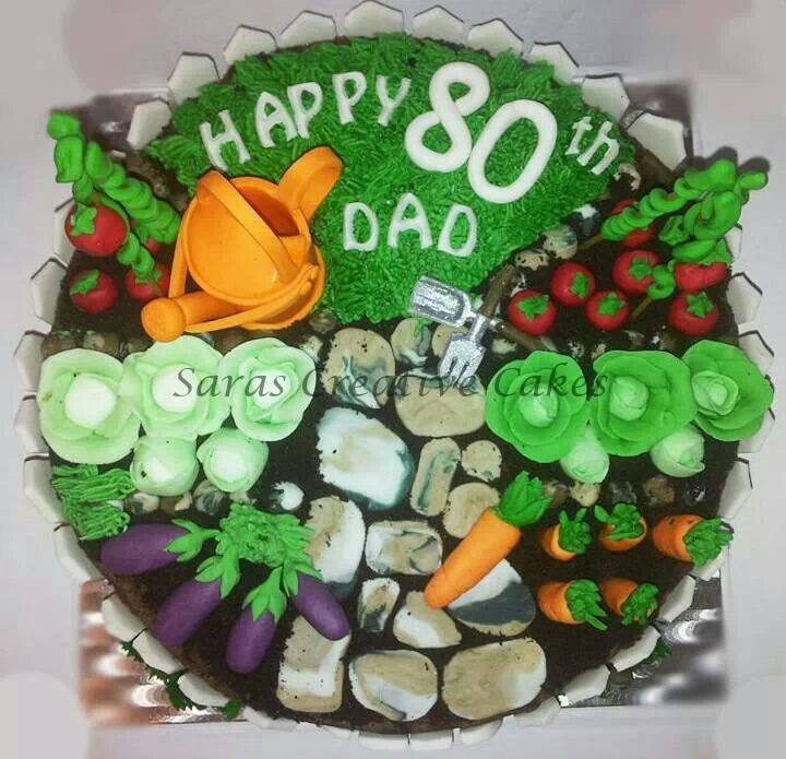 Allotment garden 80th birthday cake with handmade fondant