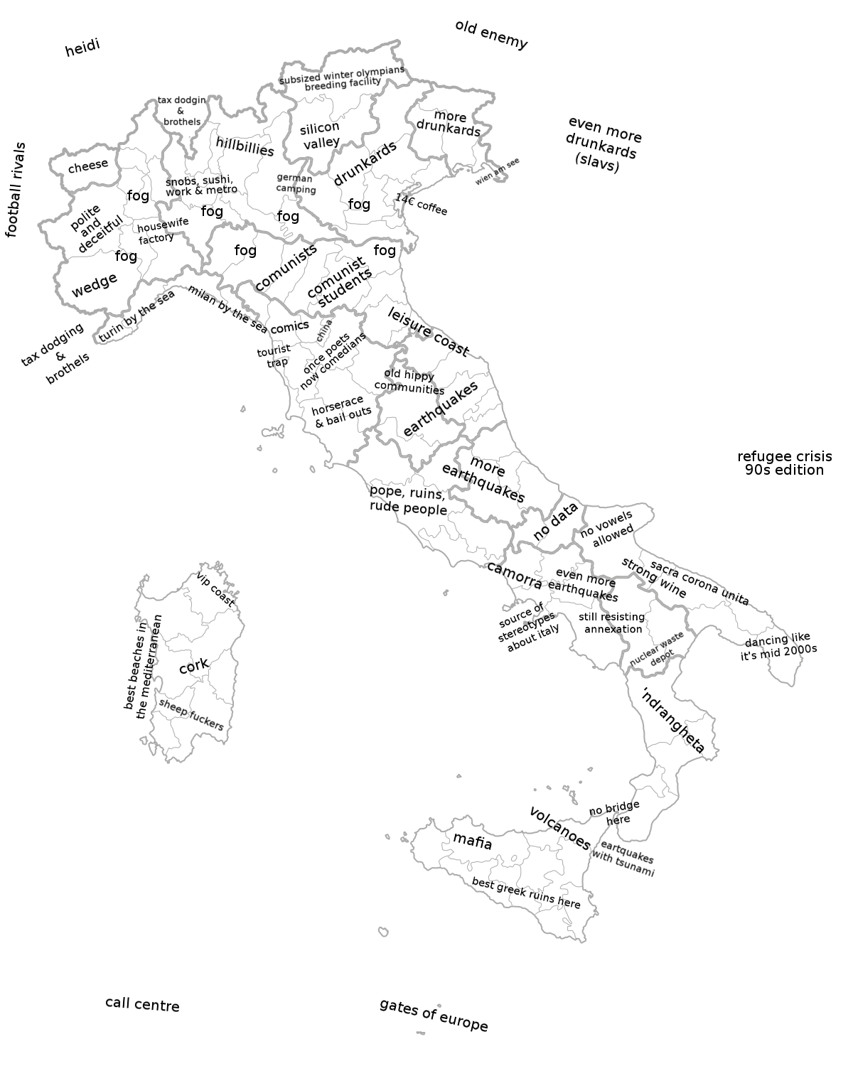 Regional Italy Map.Italy Stereotype Maps Italy Pinterest Italy Map Map And Italy
