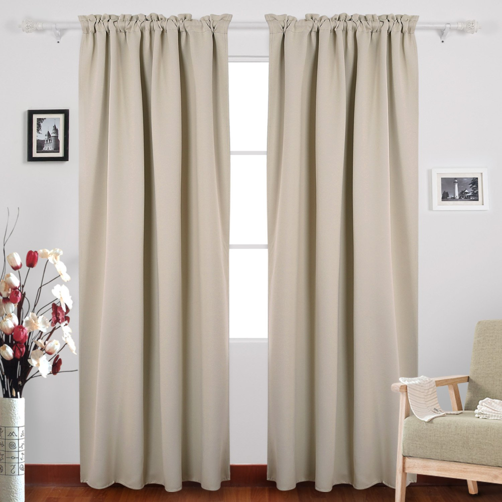 Beige Blackout Room Darkening Curtains Ease Bedding With Style