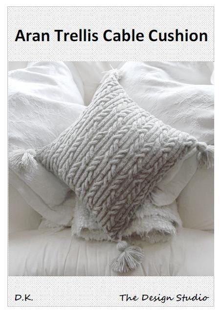 Aran Trellis Cable Cushion/Pillow Hand Knitting Pattern. PDF ...