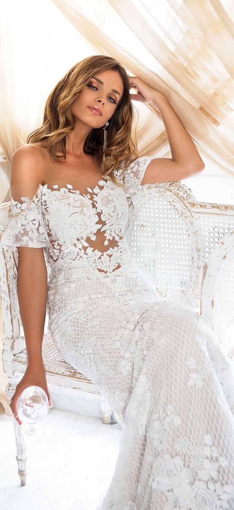 Off the shoulder short sleeves Illusion sweet heart neckline heavy embellishment mermaid wedding dress sweep train : Milla Nova wedding dress #weddingdress #weddinggown #wedding #bridedress