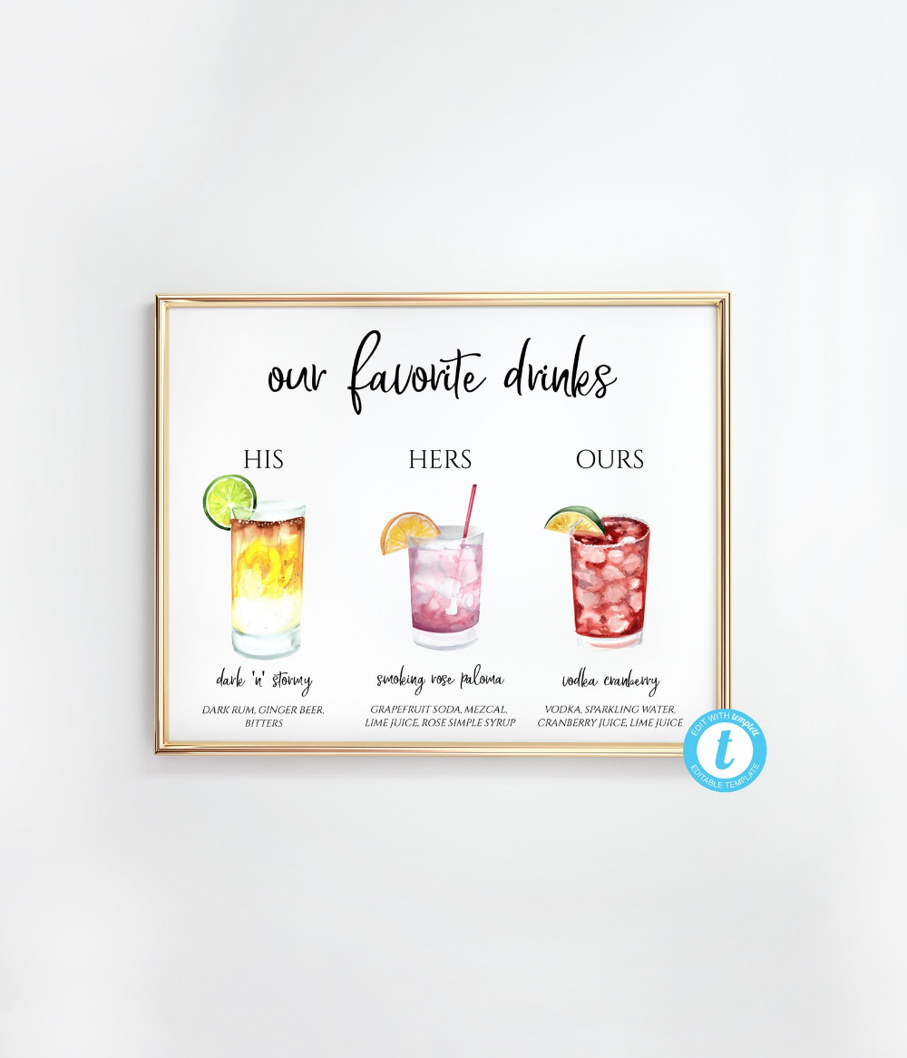 You Edit! Favorite Drink Sign, His and Hers Cocktail Sign