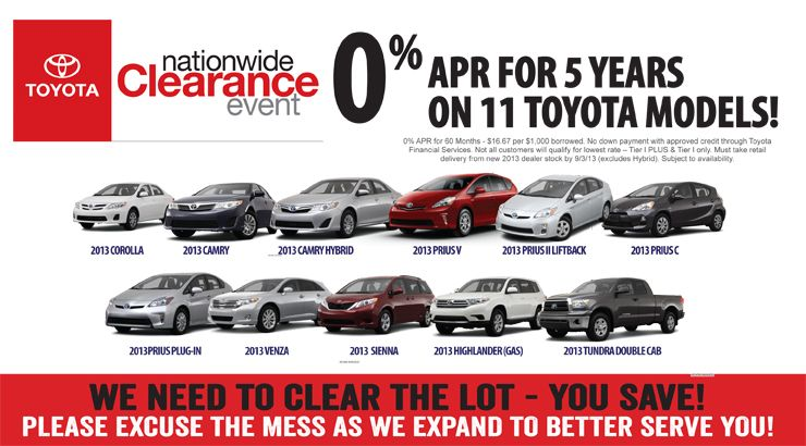 Toyota Financing Deals >> Looking For A Great Deal On New Toyota Get 0 Apr For Five Years