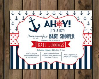 Awesome Nautical Baby Shower Invitation Ahoy Itu0027s A Boy Invitation Anchor Invite  Gold And Navy Stripes DIY Printable Invite By Sparklefly Paperie