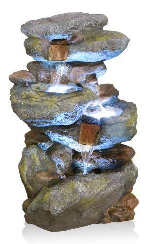 Bekko Wasserfall Beleuchteter Kaskadenbrunnen: Amazon.de: Garten