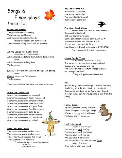 fingerplays fall - Preschool