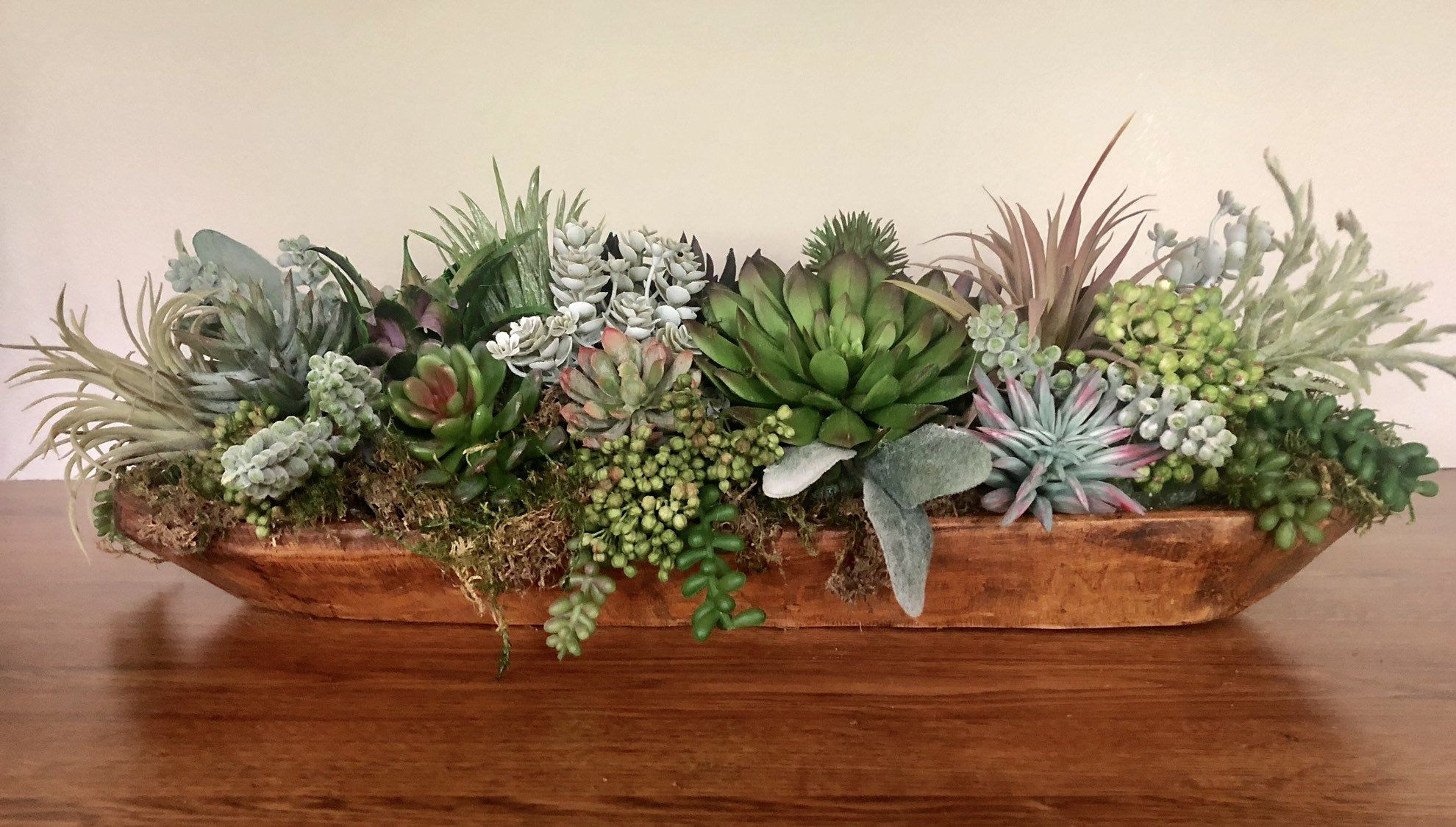 Succulent Arrangement In Rustic Wooden Bowl Faux Succulent Arrangement Faux Su Faux Succulents Arrangements Dining Room Table Centerpieces Dining Centerpiece