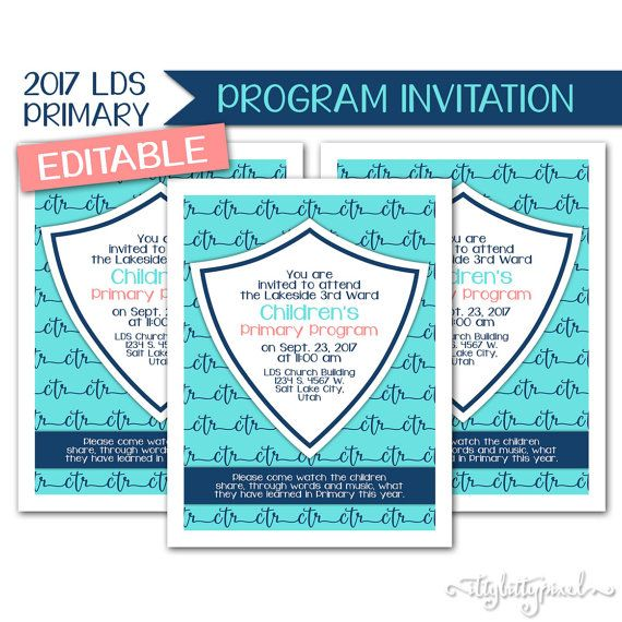 Sacrament Program Invitation - LDS Primary 2017 Theme PRINTABLE ...