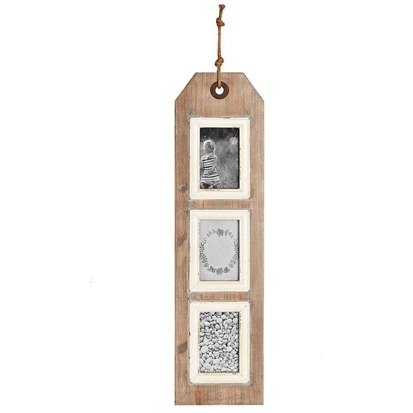 3-Opening Hanging Wood Wall Tag Collage Frame ($17) ❤ liked on ...