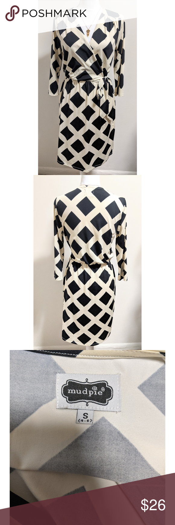 Mud Pie Wrap Dress Black Cream Dress Size Small Black Wrap Dress Cream Dress Black Cream [ 1740 x 580 Pixel ]