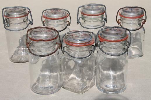 3fb42bb75af0 vintage small mason jars, glass kitchen canisters w/ lightning lids ...