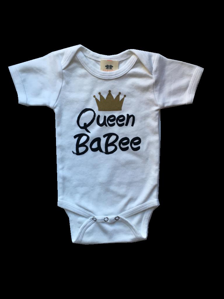 4836c4676798 Queen BaBee White Short Sleeve Cotton Interlock Onesie