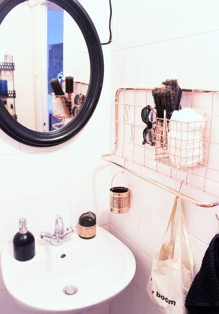 notre salle de bains rose cuivre et