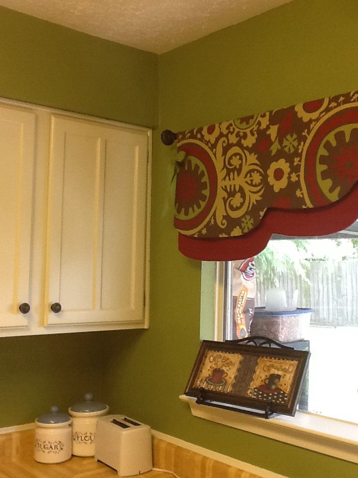 My Kitchen Olive Green Walls Parchment Cupboards And Trim Brown And Red Accents Sage Green Kitchen Red Curtains Olive Green Walls