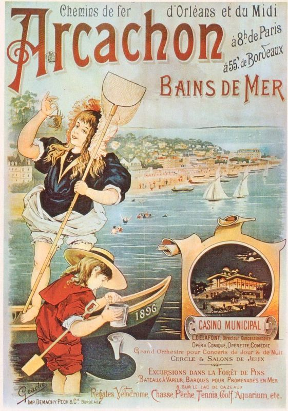 arcachon bains de mer france atlantique vintage art nouveau travel beach poster affiche. Black Bedroom Furniture Sets. Home Design Ideas