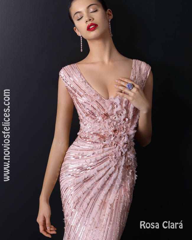 b29a26a47c1d Vestido fiesta largo bordado en paillettes rosa | ROPA | Bridesmaid ...