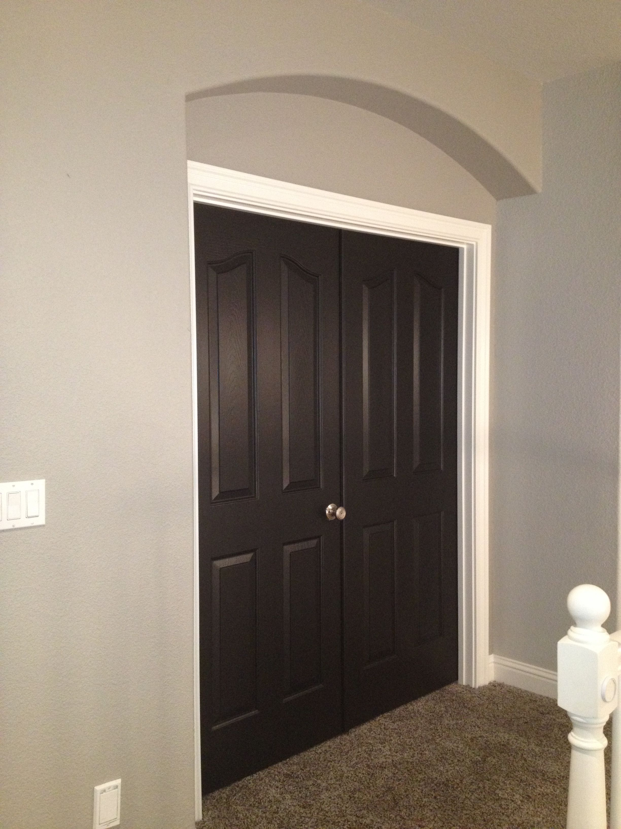 Greige Walls And Black Doors We Will Have Wood Not But The Brushed Nickel Looks Way Better Than I Expected