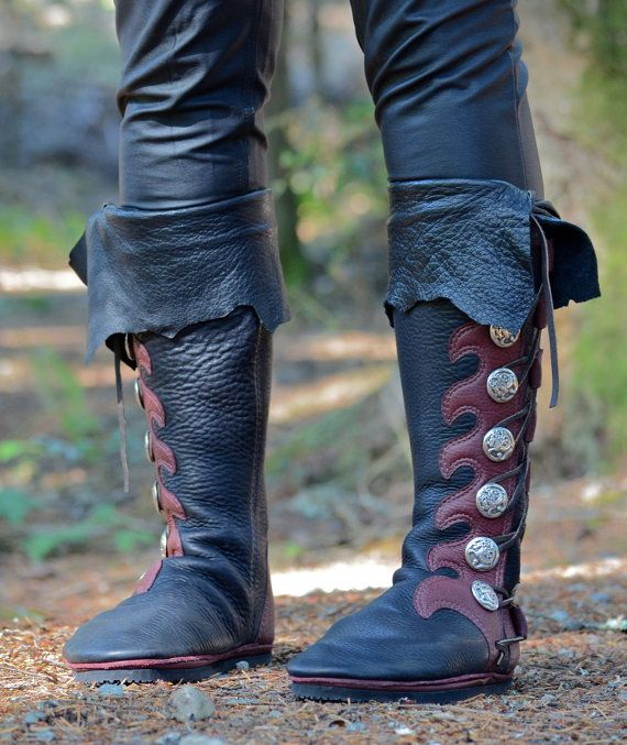 04286d772c3 Knee-High Custom Viking Boots with Cuff - Custom Buffalo Moccasins -  Leather Boots for