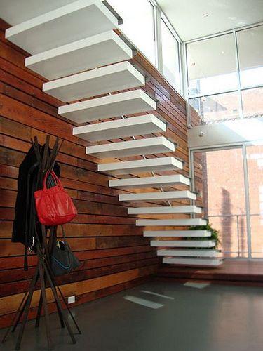escalera-blanca-diseno-minimalista Escaleras Pinterest Diseño