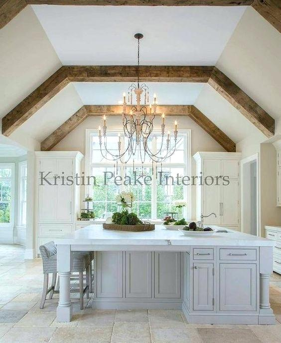 Add Beams To Vaulted Ceiling Elegant Kitchen With Vaulted Ceilings Lined With Rustic Wood Beams Acce Vaulted Ceiling Kitchen Wood Beam Ceiling Elegant Kitchens