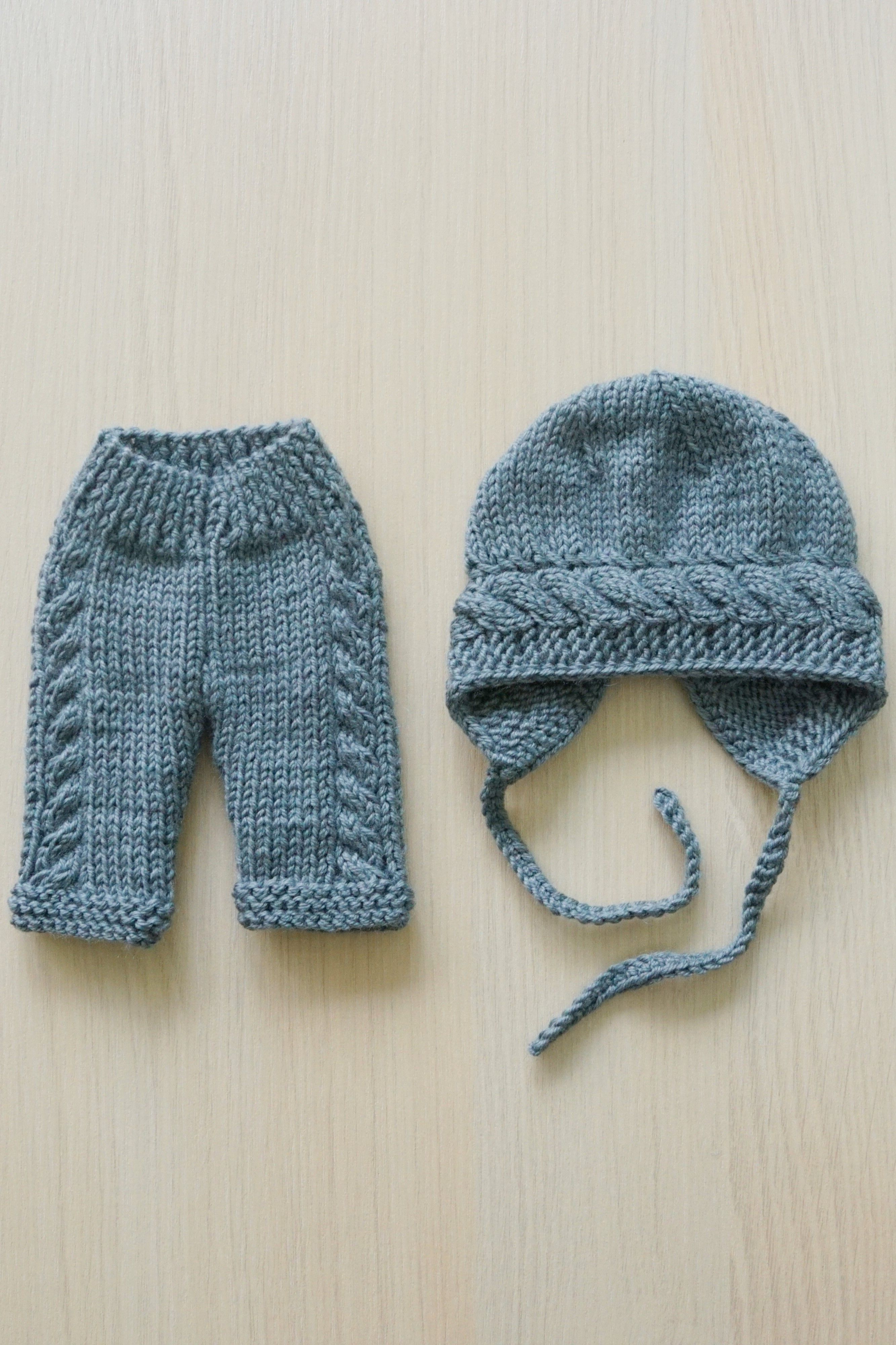 Baby Born dolls clothing set - hat and pants. Fit 43 cm (17 inch) baby doll. Baby doll knitting.