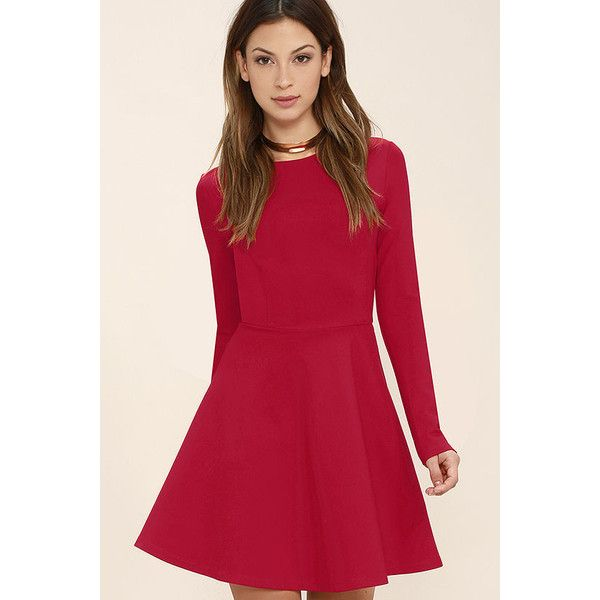 d6a9e0d489578 Lulus Forever Chic Red Long Sleeve Dress ($59) ❤ liked on Polyvore  featuring dresses, red, long dresses, long sleeve embellished dress, red  dress, red ...