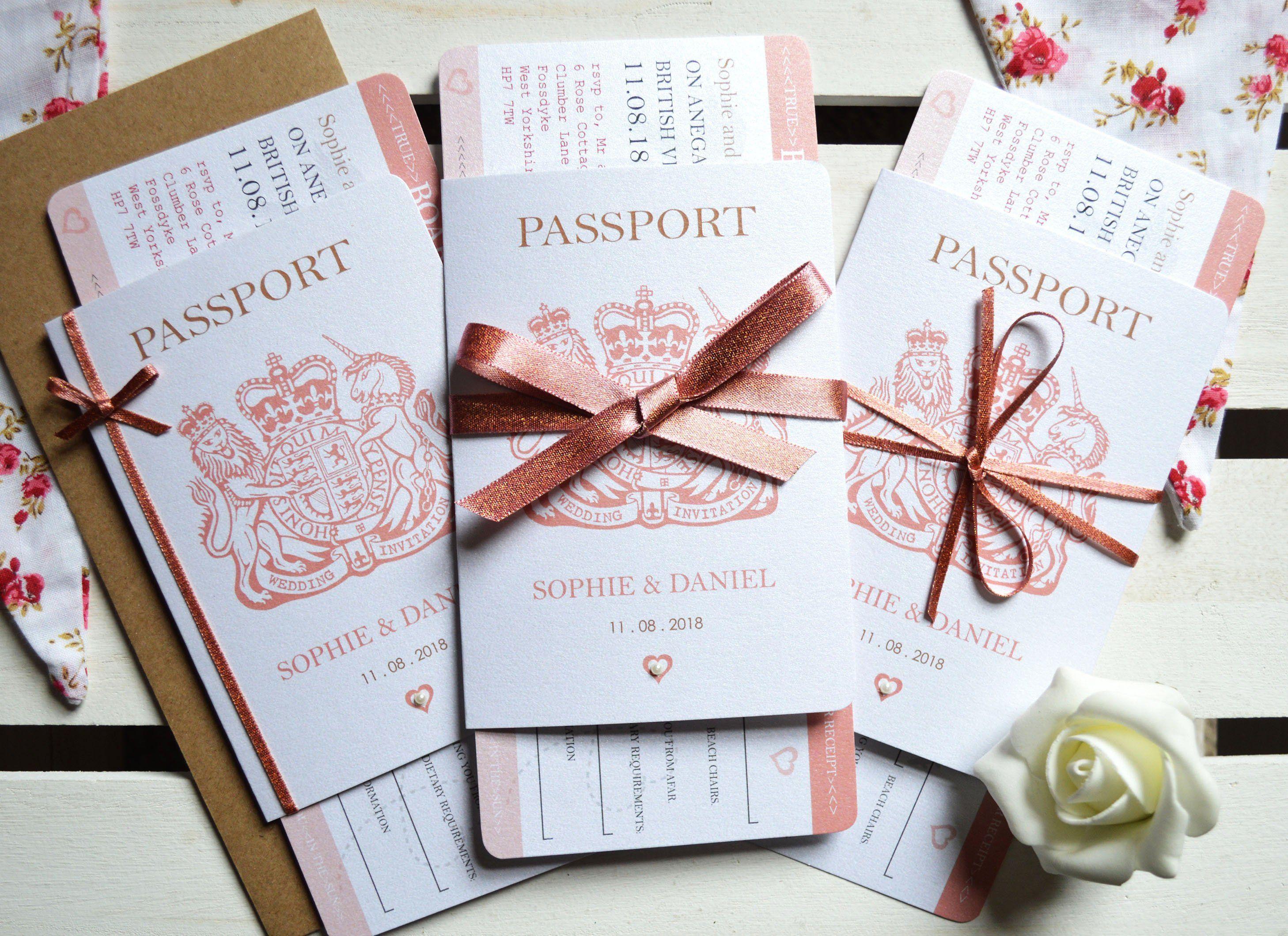 Rose Gold Sparkle Passport Wedding Invitation Sample Boarding Etsy Passport Wedding Invitations Wedding Invitation Samples Passport Wedding