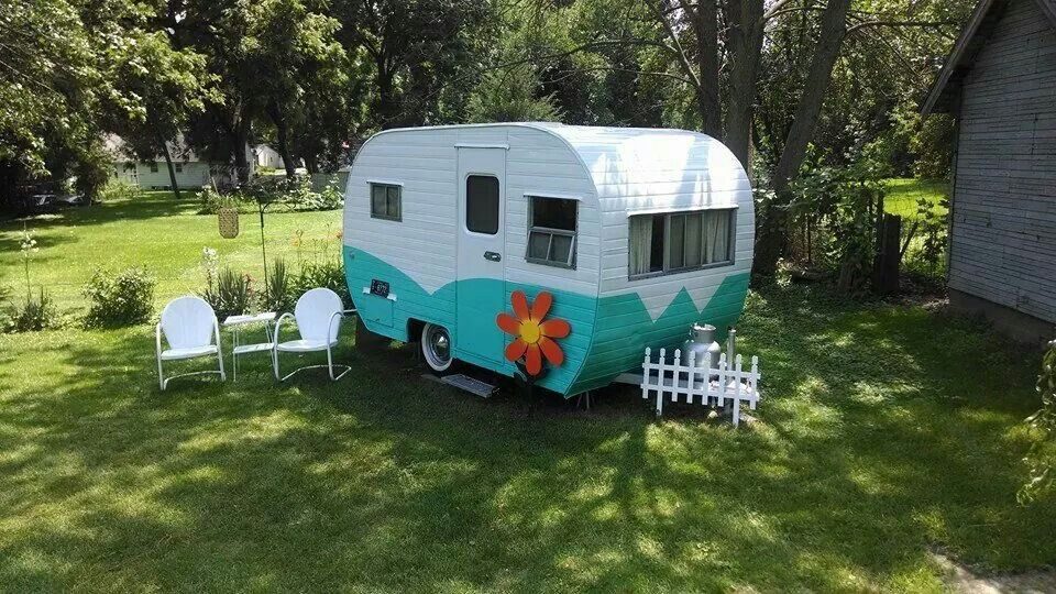 Flower Power Vintage travel trailers, Vintage trailer