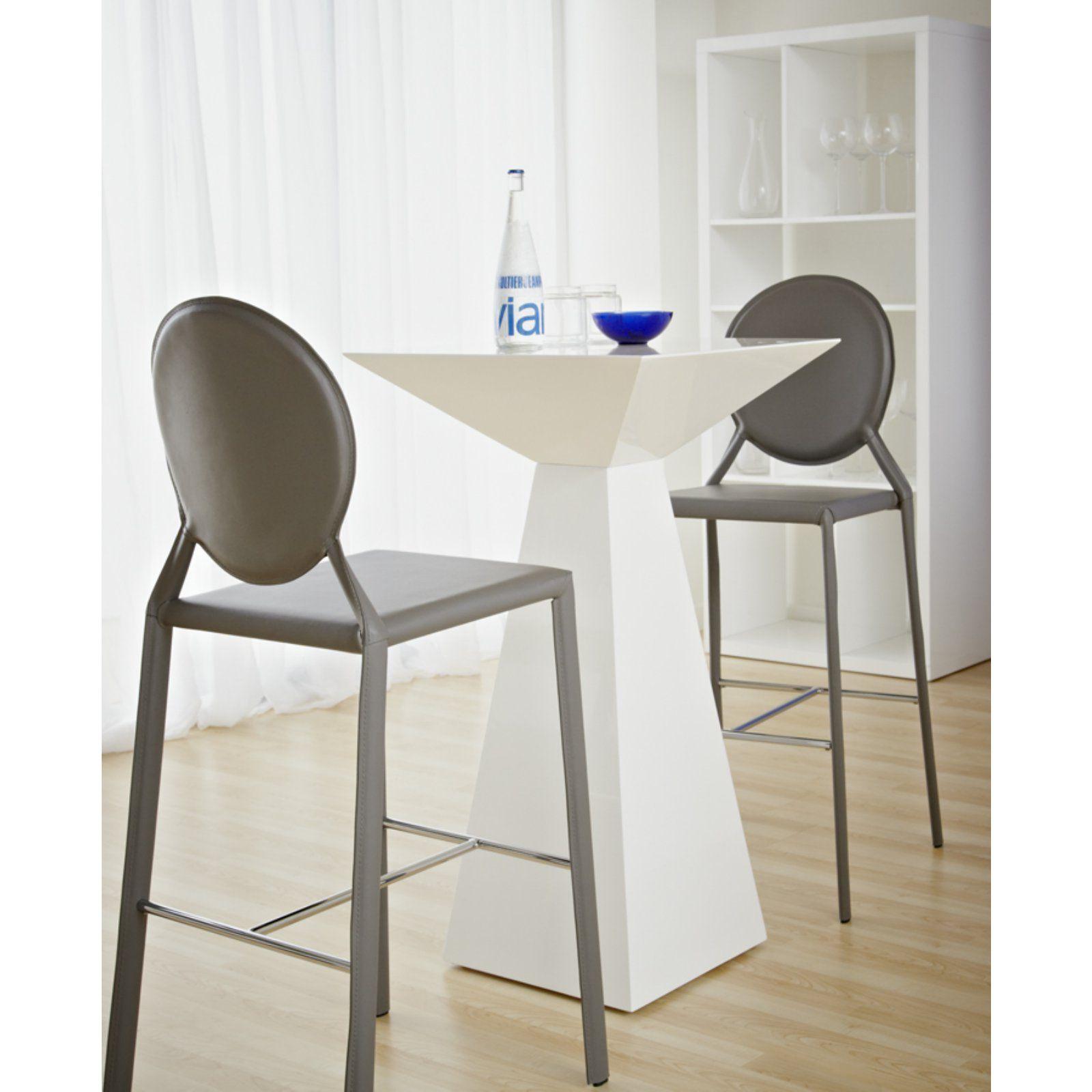 Euro Style Tad White Bar Table