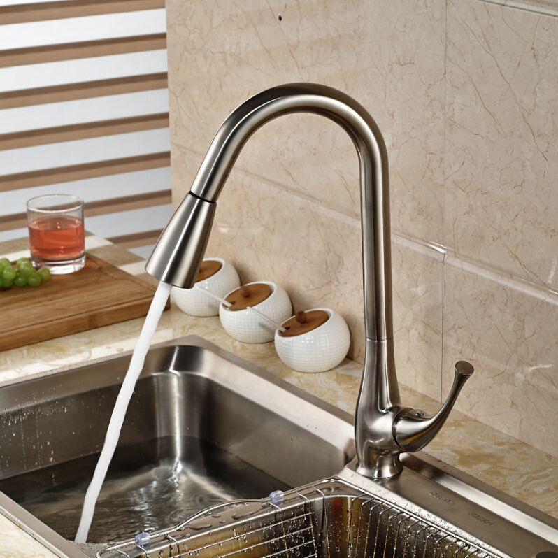 Luxury Dual Sprayer Nozzle Kitchen Sink Mixer Taps Single Lever Simple Brushed Nickel Kitchen Faucet Design Inspiration