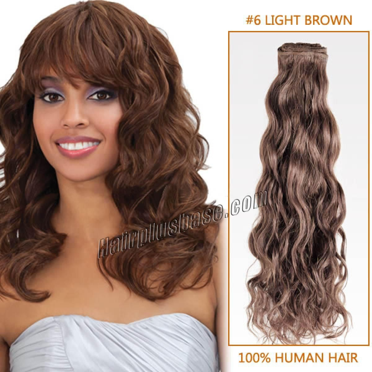 30 Inch 6 Light Brown Curly Indian Remy Hair Wefts Hair Weft