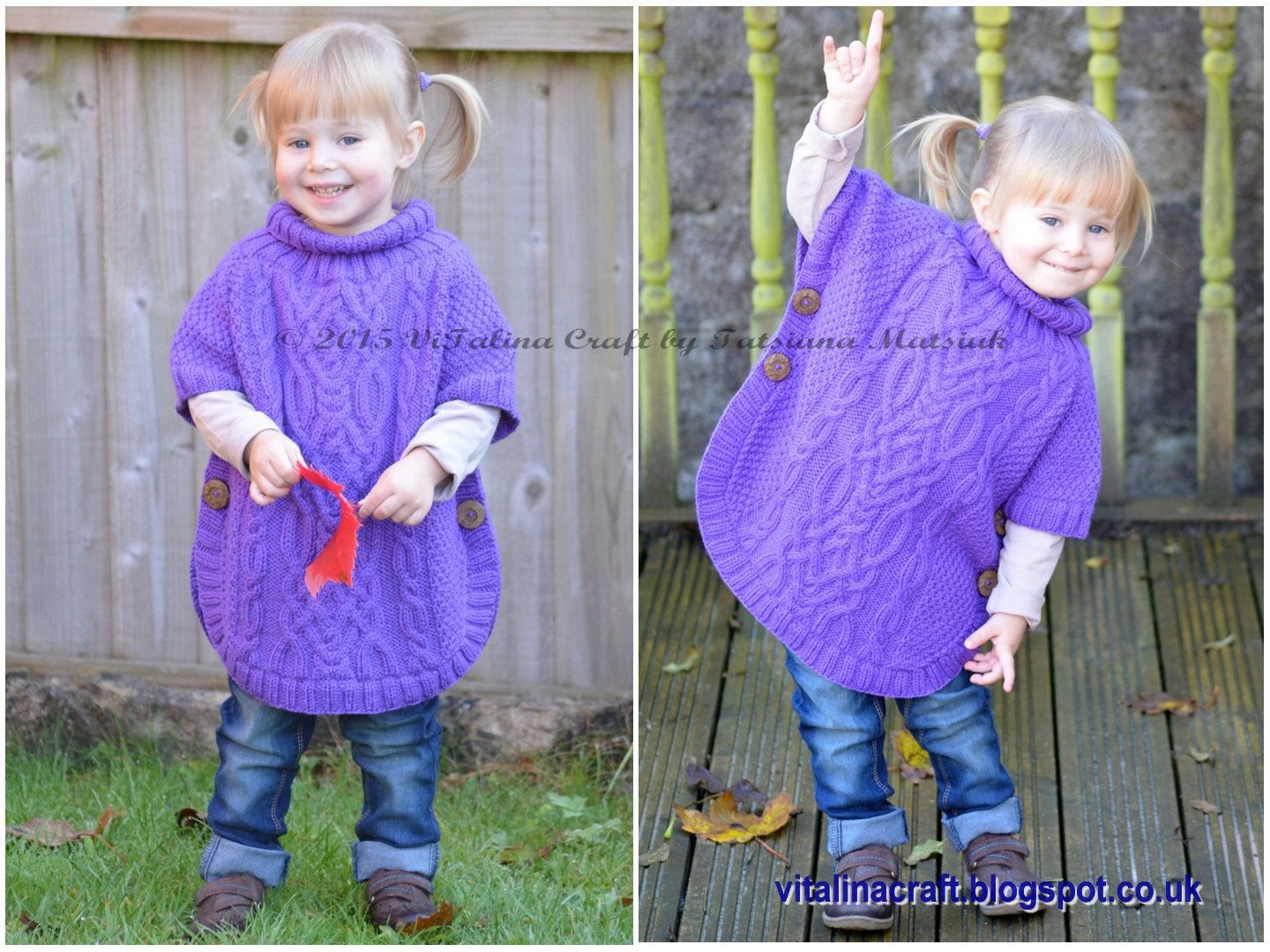 Knitting Pattern Cable Fantasy Poncho Toddler and Child | ponchitos ...