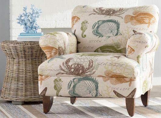 Coastal Upholstered Chairs In Beachy Amp Nautical Fabrics