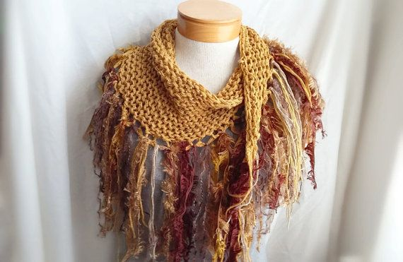 Gold knit fringe scarf Cotton triangle shawl  by 910woolgathering