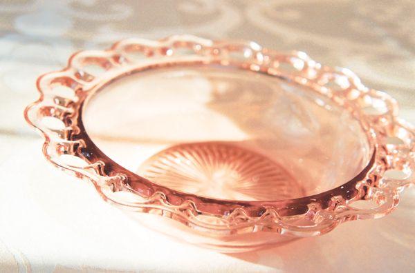 Vintage pink glassware. Depression glass bowl. For rent for your vintage event decor. www.vintagedishrental.com