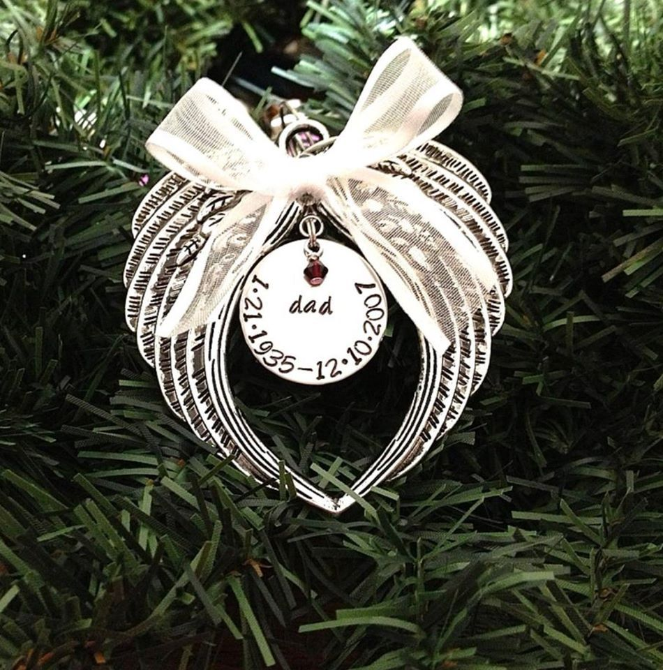 Hand Stamped Christmas Ornament Angel Wings With Swarovski Crystal Birthstone From Charms For An A Christmas Ornaments Hand Stamped Ornament Memorial Ornaments