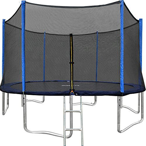 Orcc 15ft 12ft Trampoline With Enclosure Net And Wind Stakes Rain Cove Best Trampoline Trampoline Enclosure Backyard Trampoline