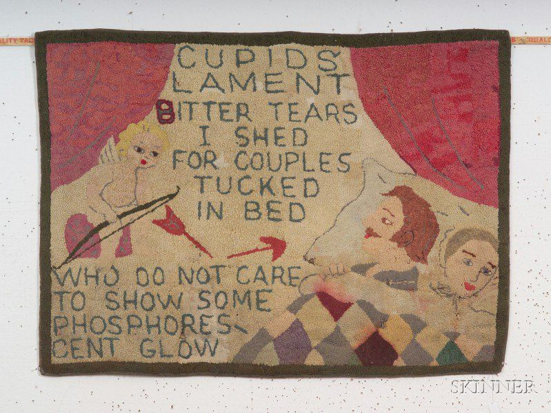 Cupid S Lament Pictorial Wool Hooked Rug