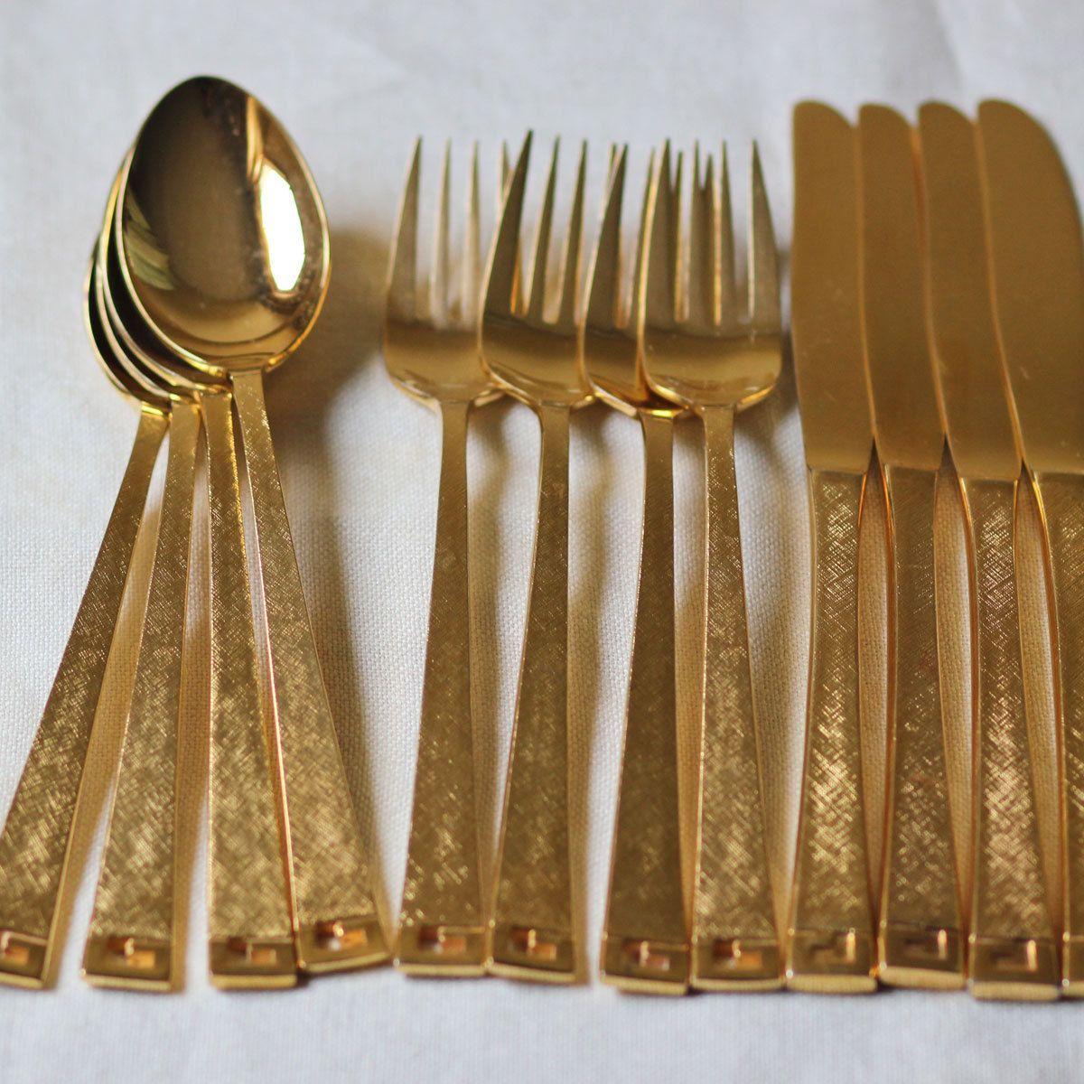 Gold Plated Flatware Vintage Gold Flatware Flatware