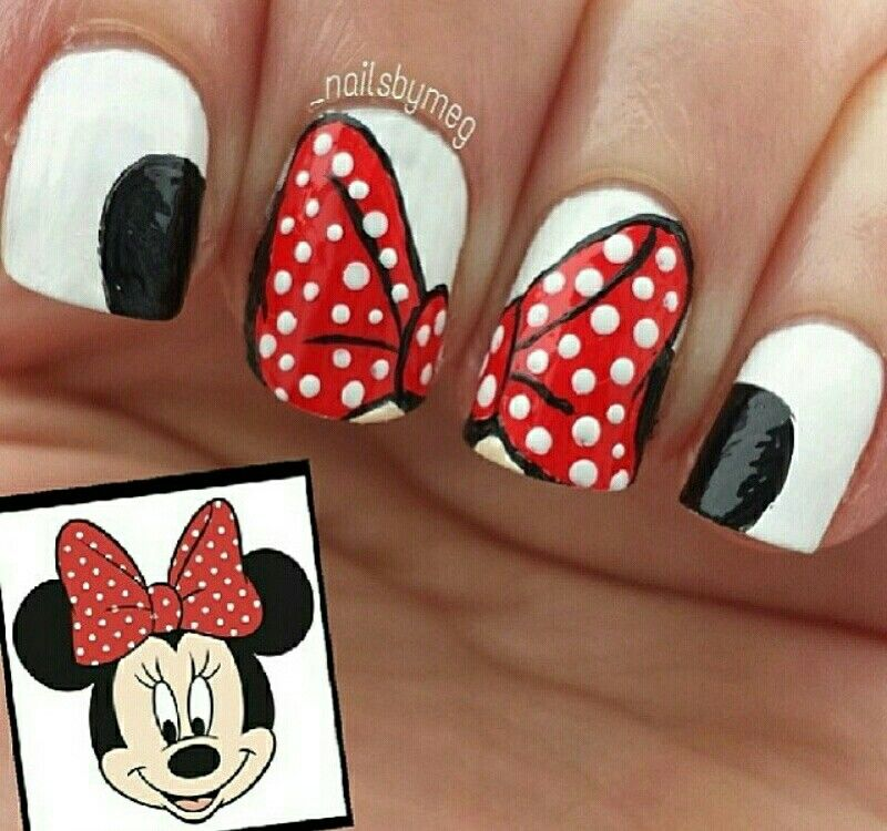 minnie mouse nails | Arte uñas | Pinterest | Uña decoradas, Diseños ...
