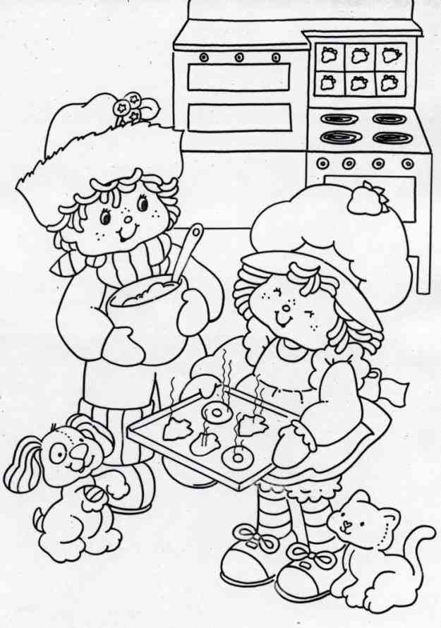 Strawberry Shortcake Baking Cookies Coloring Sheet Strawberry
