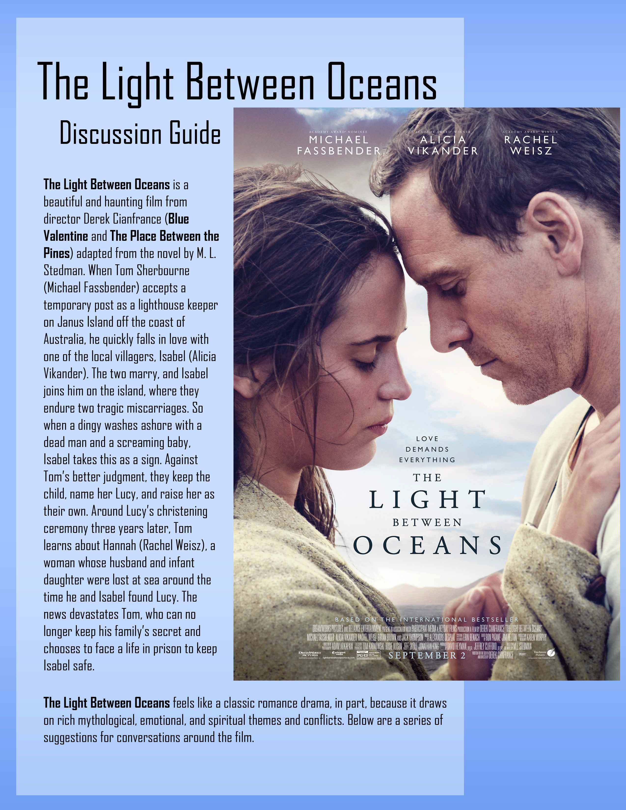The Light Between Oceans Discussion Guide Trailer The Light Between Oceans Discussion Guide Ocean