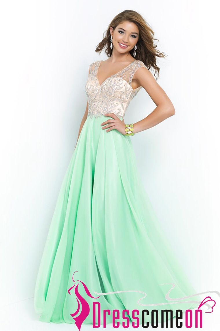 Elegant new princess deep v neck sleeveless floor length chiffon