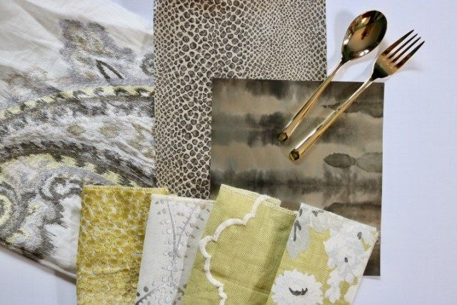 Inspiration Board- New Neutrals for interior design include chartreuse and taupe grey