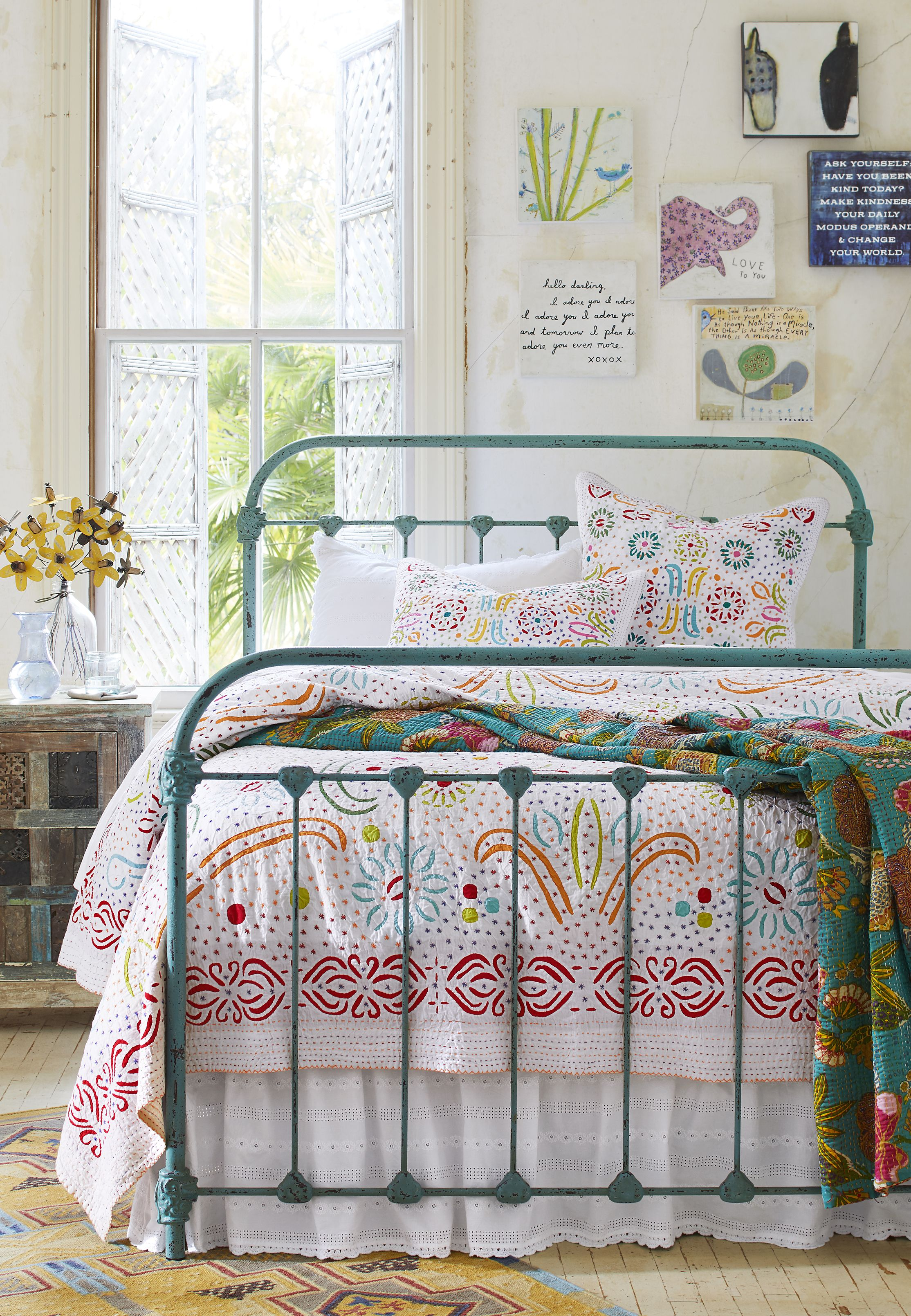 Sky Sea Bed Welded Iron Turquoise Bed Iron Bed Turquoise