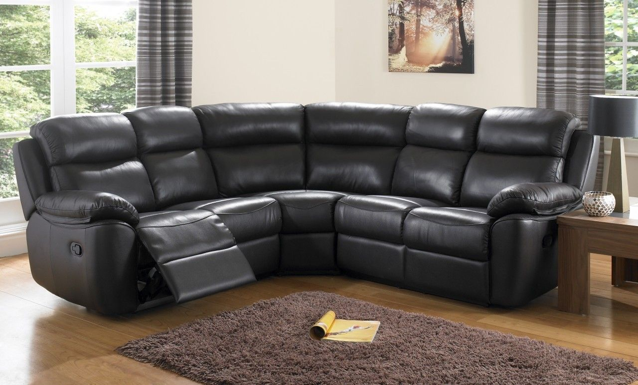 Beau Houston Black Leather Corner Sofas