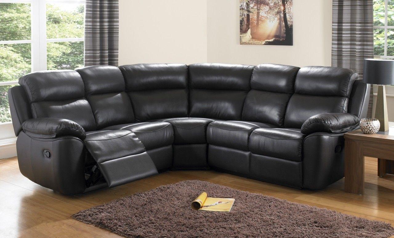 Houston Black Leather Corner Sofas Leather Reclining Sofa