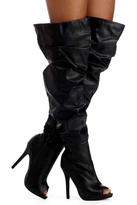 0efc1cf9b7 Black Thigh High Slouch Boots Windsor Store