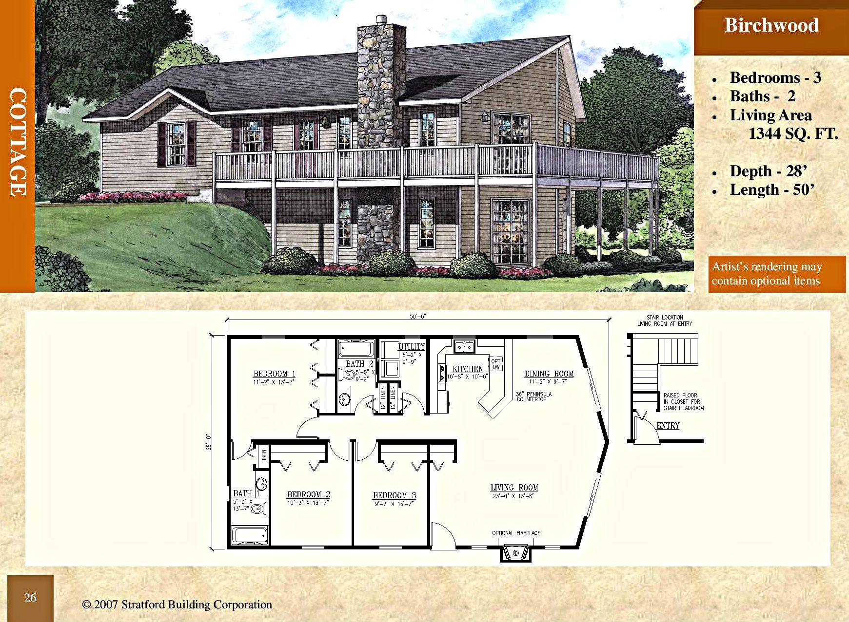 Modular Cottage Floor Plan 1344 Sq Ft Birchwood Upper Level Basement Optional Stratford Home Center Stratford Homes Cottage Floor Plans Cottage Bath