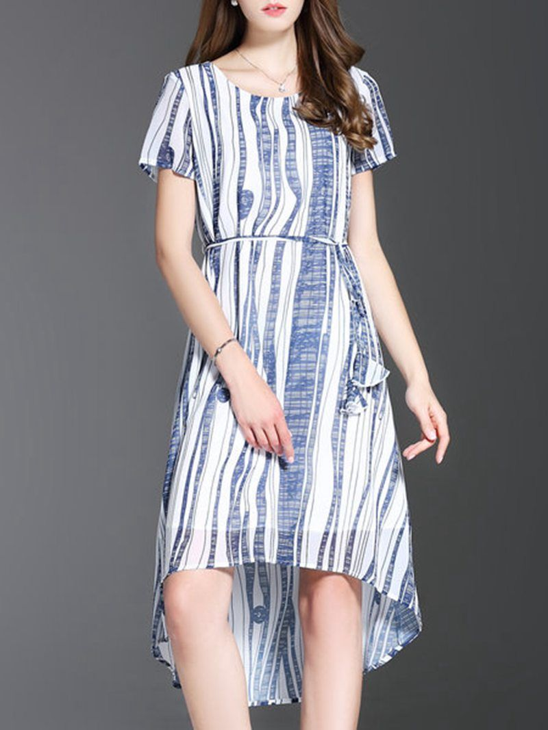 Shop white asymmetric stripes short sleeve midi dress online the